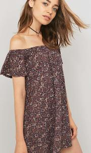 Pins & Needles , Off The Shoulder Floral Maroon Tunic Dress