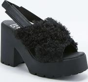 Eeight , Lina Woolly Black Platform Shoes Black