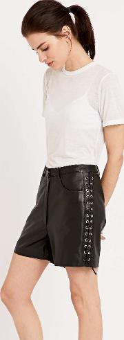 Hide , Lace Up Leather Shorts In Black Black