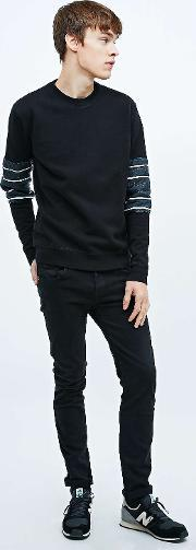 Lhomme Rouge , L Homme Rouge Lined Arms Sweatshirt In Black Black