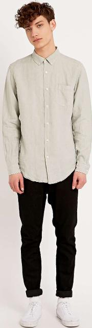 Lhomme Rouge , L Homme Rouge Linen Long Sleeve Shirt In Medic Green Green