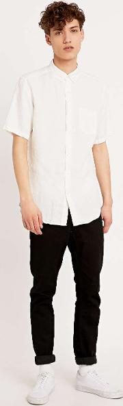 Lhomme Rouge , L Homme Rouge Linen Short Sleeve Shirt In Washed White White