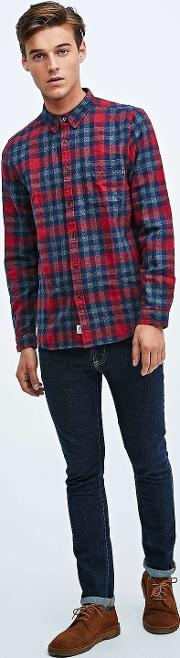 Shore Leave , Bounty Check Shirt In Red And Navy Red