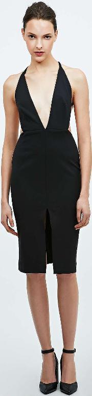Solace , Bacall Knee Dress In Black Black
