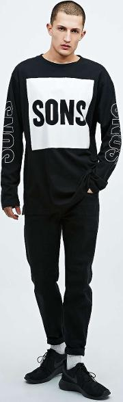 Sons , Square And Sleeves Long Sleeve Tee In Black Black
