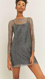 Sparkle & Fade , Chainmail Long Sleeve Silver Dress