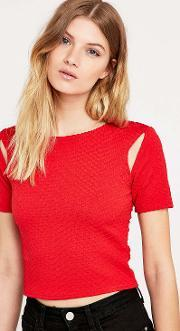 Sparkle & Fade , Stripe Cut Out Bodycon Top In Red Red
