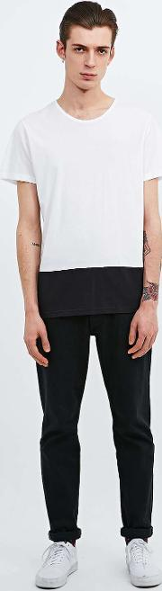 Suit , Bag Contrast Hem Tee In White And Black White