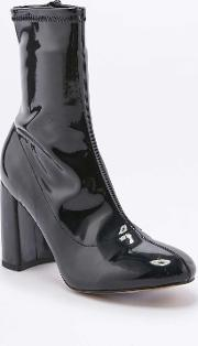 Urban Outfitters , Kourtney Stretchy Black Patent Leather Ankle Boots