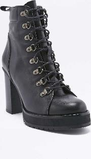 Urban Outfitters , Taylor Black Heeled Ankle Hiking Boots